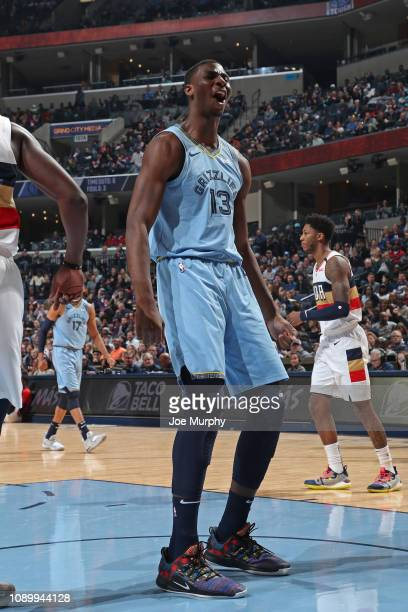Jaren Jackson Jr #13 of the Memphis Grizzlies reacts during the game against the New Orleans Pelicans on January 21 2019 at FedExForum in Memphis...