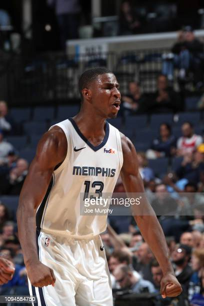 Jaren Jackson Jr #13 of the Memphis Grizzlies reacts to a play during the game against the Minnesota Timberwolves on February 5 2019 at FedExForum in...