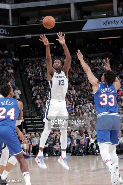 Jaren Jackson Jr #13 of the Memphis Grizzlies shoots a three pointer against the Sacramento Kings on February 20 2020 at Golden 1 Center in...