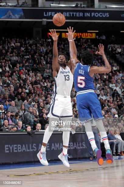 Jaren Jackson Jr #13 of the Memphis Grizzlies shoots a three pointer against De'Aaron Fox of the Sacramento Kings on February 20 2020 at Golden 1...