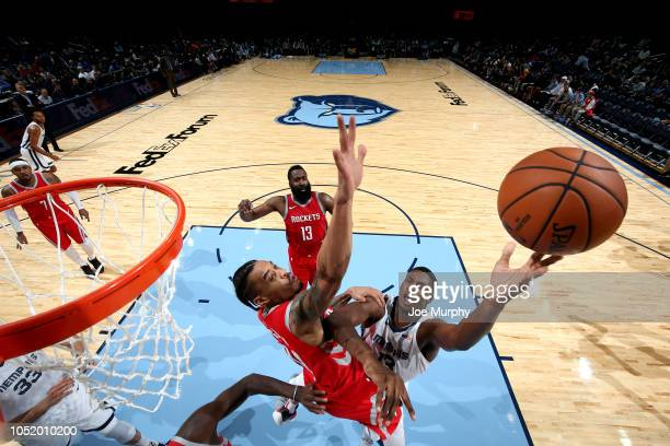 Jaren Jackson Jr #13 of the Memphis Grizzlies shoots the ball against the Houston Rockets during a preseason game on October 12 2018 at FedExForum in...
