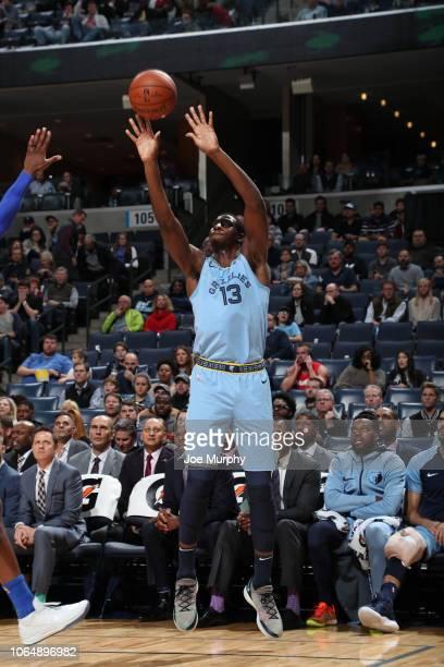 Jaren Jackson Jr #13 of the Memphis Grizzlies shoots the ball against the Dallas Mavericks on November 19 2018 at FedExForum in Memphis Tennessee...