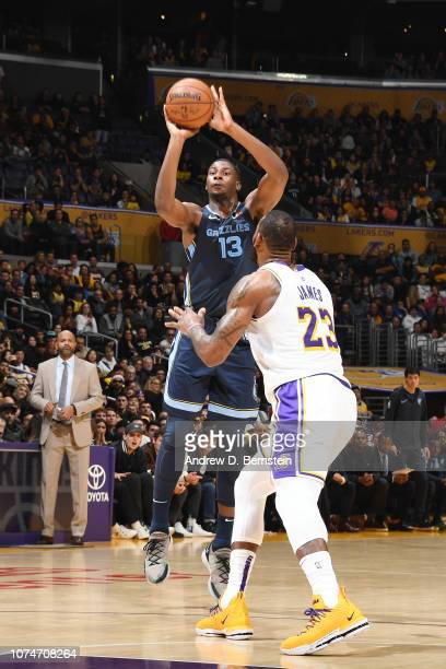 Jaren Jackson Jr #13 of the Memphis Grizzlies shoots the ball against the Los Angeles Lakers on December 23 2018 at STAPLES Center in Los Angeles...