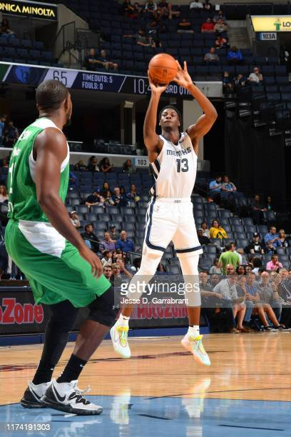 Jaren Jackson Jr #13 of the Memphis Grizzlies shoots three point basket against the Maccabi Haifa during the preseason on October 6 2019 at...