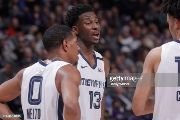 Jaren Jackson Jr #13 of the Memphis Grizzlies talks to teammates during the game against the Sacramento Kings on February 20 2020 at Golden 1 Center...