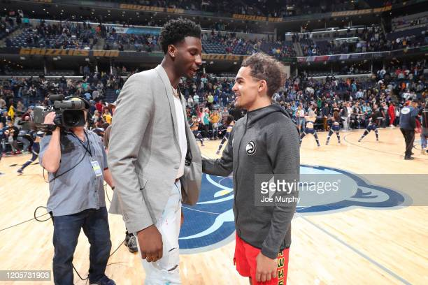 Jaren Jackson Jr #13 of the Memphis Grizzlies talks with Trae Young of the Atlanta Hawks after the game on March 7 2020 at FedExForum in Memphis...
