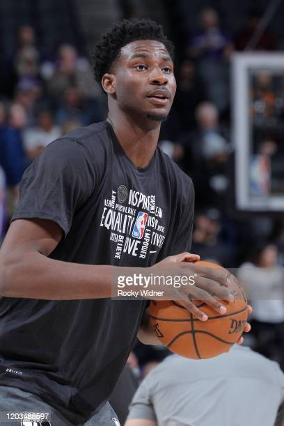 Jaren Jackson Jr #13 of the Memphis Grizzlies warms up against the Sacramento Kings on February 20 2020 at Golden 1 Center in Sacramento California...