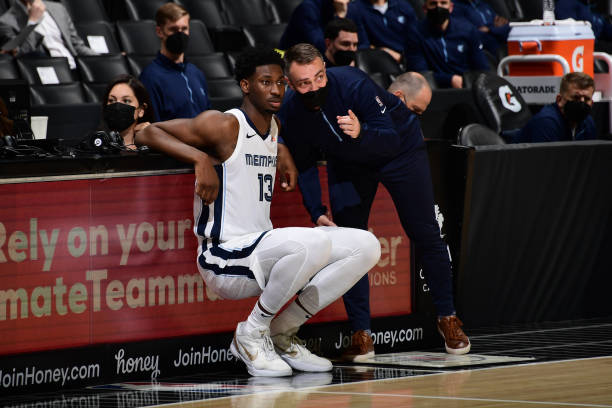 Jaren Jackson Jr. #13 talks with Assistant Coach, Darko Rajakovic of the Memphis Grizzlies during the game against the LA Clippers on April 21, 2021...