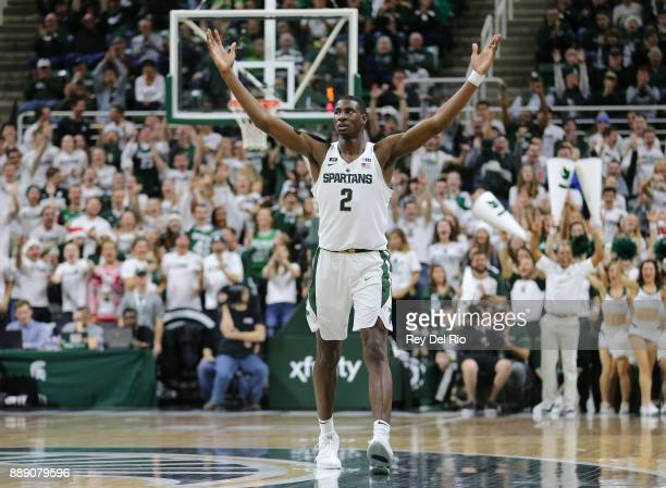 Jaren Jackson Jr #2 of the Michigan State Spartans celebrates a made basket during the game against the Southern Utah Thunderbirds at Breslin Center...
