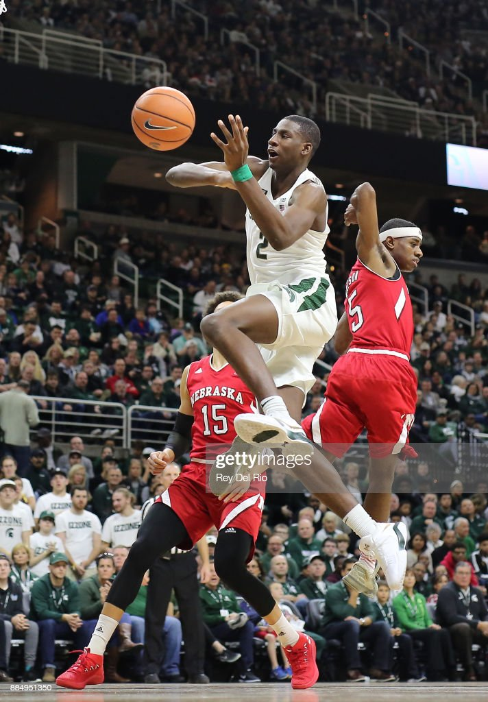 Jaren Jackson Jr. #2 of the Michigan State Spartans drives to the basket draws a foul against Glynn Watson Jr. #5 of the Nebraska Cornhuskers at Breslin Center on December 3, 2017 in East Lansing, Michigan.