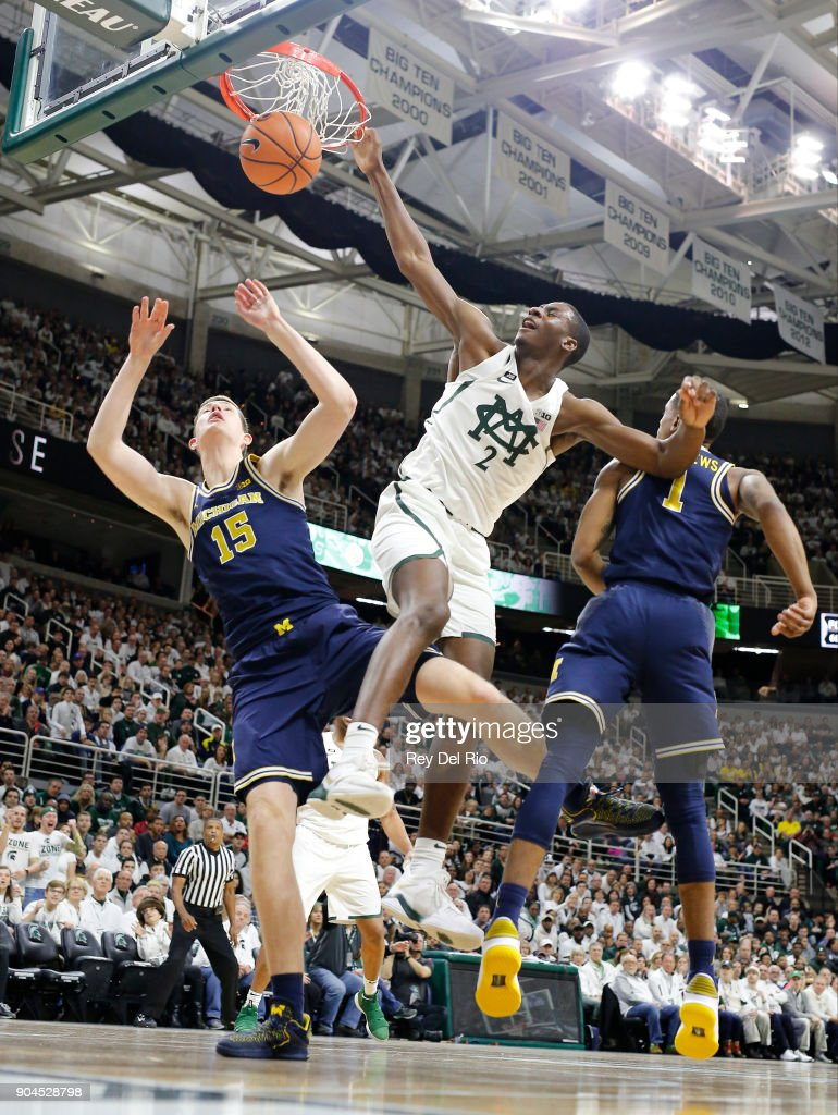 Jaren Jackson Jr. #2 of the Michigan State Spartans dunks the ball in the in the first half against the Michigan Wolverines at Breslin Center on January 13, 2018 in East Lansing, Michigan.