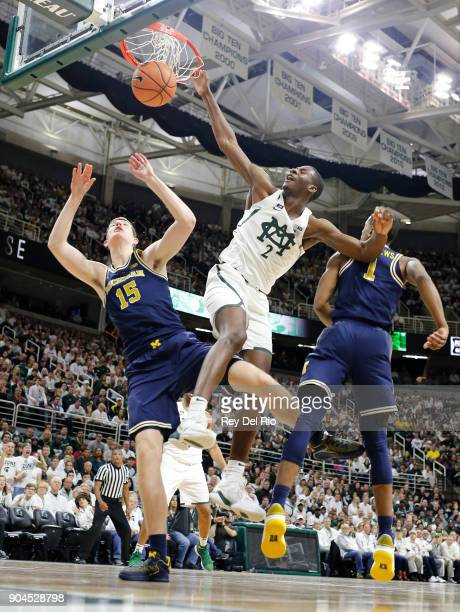 Jaren Jackson Jr #2 of the Michigan State Spartans dunks the ball in the in the first half against the Michigan Wolverines at Breslin Center on...