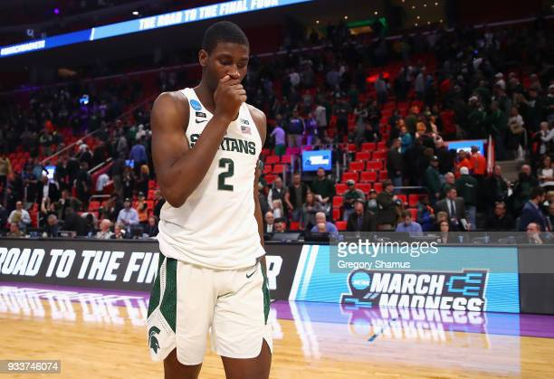 Jaren Jackson Jr #2 of the Michigan State Spartans reacts after being defeated by the Syracuse Orange 5553 in the second round of the 2018 NCAA Men's...