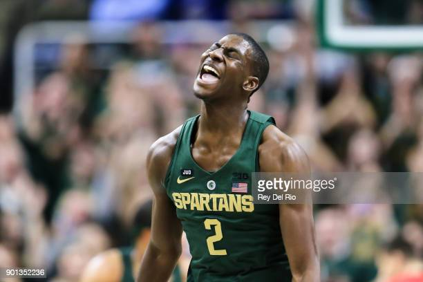 Jaren Jackson Jr #2 of the Michigan State Spartans reacts during the game against the Maryland Terrapins at Breslin Center on January 4 2018 in East...
