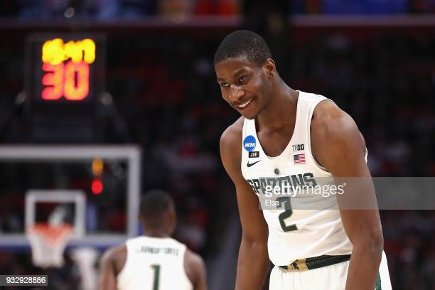 Jaren Jackson Jr #2 of the Michigan State Spartans reacts during the first half against the Bucknell Bison in the first round of the 2018 NCAA Men's...