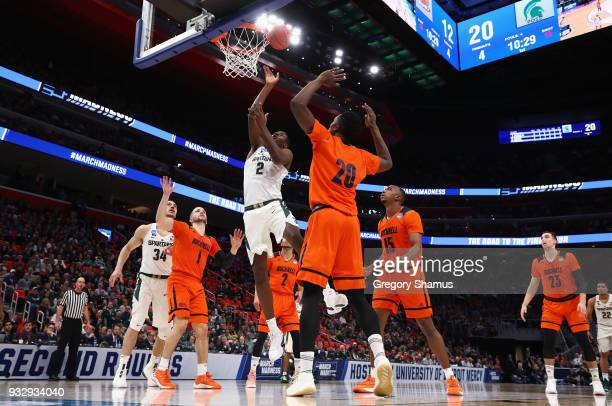 Jaren Jackson Jr #2 of the Michigan State Spartans shoots the ball during the first half against the Bucknell Bison in the first round of the 2018...
