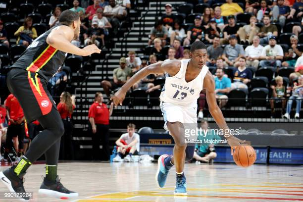 Jaren Jackson Jr handles the ball during the game against the Atlanta Hawks during the 2018 Utah Summer League on July 2 2018 at vivintSmartHome...