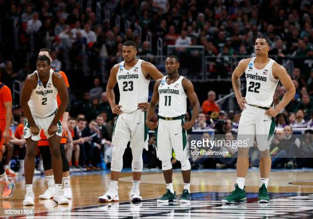 Jaren Jackson Jr of the Michigan State Spartans F Xavier Tillman of the Michigan State Spartans G Lourawls Nairn of the Michigan State Spartans and G...