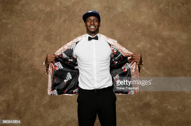 Jaren Jackson Jr poses for a portrait after being drafted by the Memphis Grizzlies during the 2018 NBA Draft on June 21 2018 at Barclays Center in...