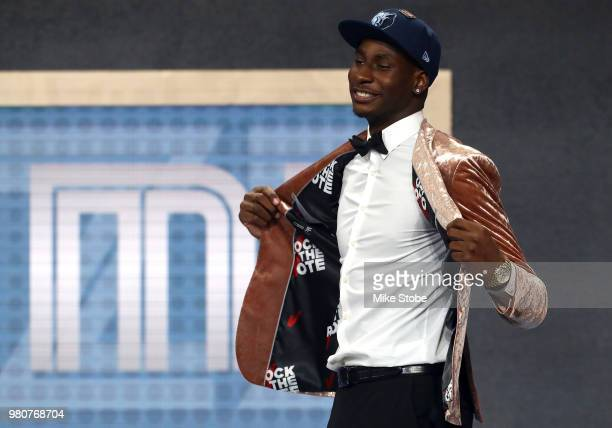 Jaren Jackson Jr reacts after being drafted fourth overall by the Memphis Grizzlies during the 2018 NBA Draft at the Barclays Center on June 21 2018...