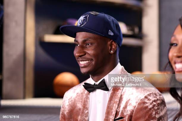 Jaren Jackson Jr talks to the media after being selected number four overall by the Memphis Grizzlies on June 21 2018 at Barclays Center during the...