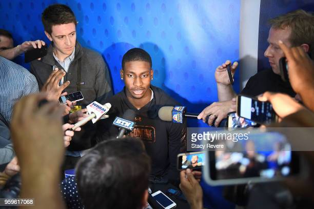 Jaren Jackson speaks with reporters during Day One of the NBA Draft Combine at Quest MultiSport Complex on May 17 2018 in Chicago Illinois NOTE TO...
