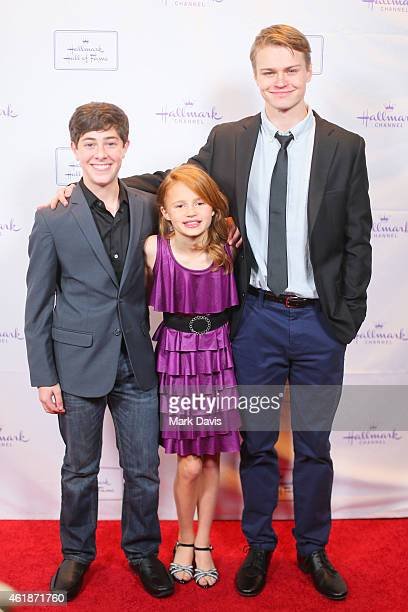 Jaren Lewison Maggie Elizabeth and Connor Paton attend the Hallmark Hall Of Fame presents the premiere of Hallmark Channel's Away Back held at iPic...