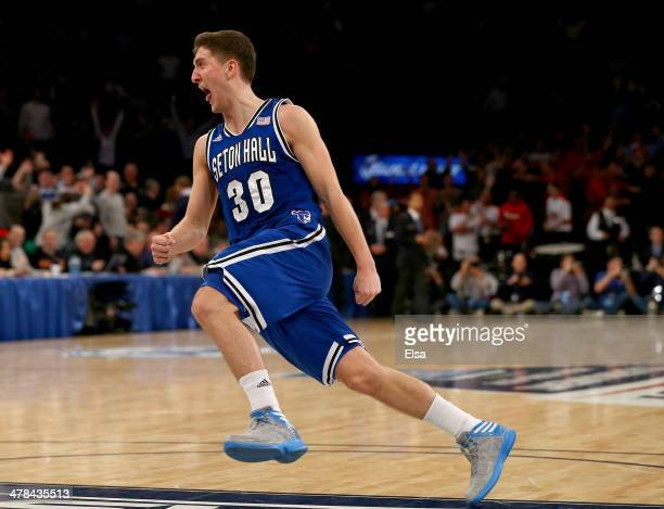 Jaren Sina of the Seton Hall Pirates celebrates the win over the Villanova Wildcats during the quarterfinals of the Big East Basketball Tournament at...