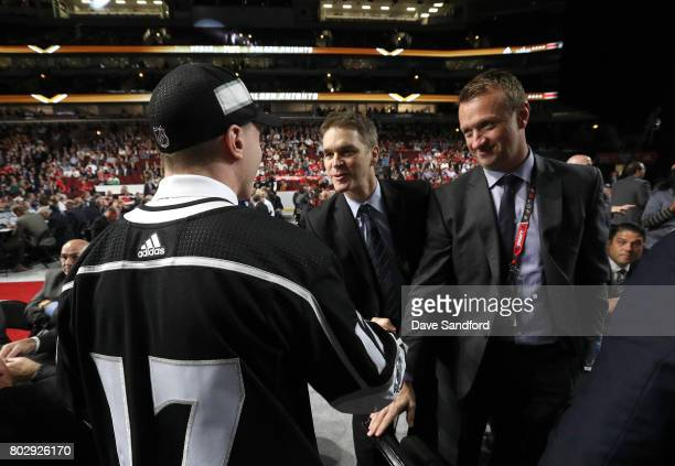Jaret AndersonDolan 41st overall pick of the Los Angeles Kings shakes the hand of president of hockey operations Luc Robitaille of the Los Angeles...