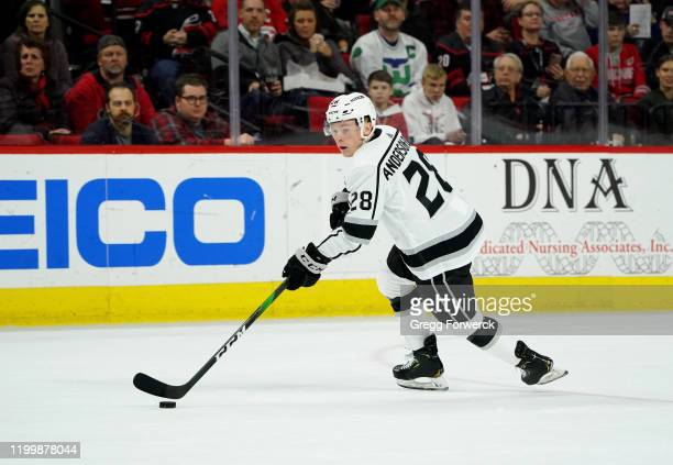 Jaret AndersonDolan of the Los Angeles Kings skates with the puck during an NHL game against the Carolina Hurricanes on January 11 2020 at PNC Arena...