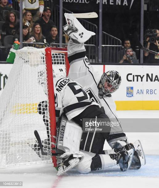 Jaret AndersonDolan of the Los Angeles Kings slides into his goaltender Jack Campbell as they defend the net against the Vegas Golden Knights in the...