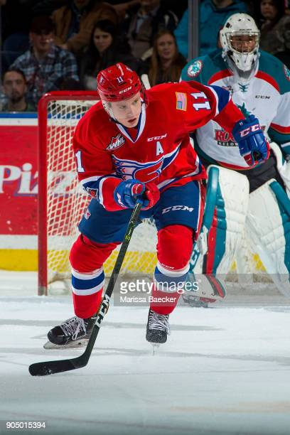 Jaret AndersonDolan of the Spokane Chiefs skates with the puck against the Kelowna Rockets at Prospera Place on January 10 2017 in Kelowna Canada