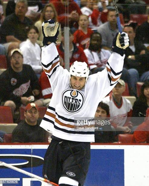 Jarett Stoll of the Edmonton Oilers celebrates his empty net goal against the Detroit Red Wings in game two of the Western Conference Quarterfinals...