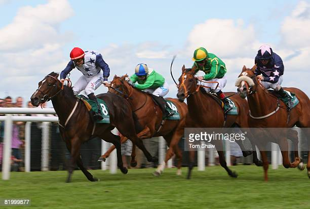 Jargelle ridden by Liam Jones holds off other horses to win the Wetherbys Super Sprint during the race meeting at Newbury Racecourse on July 19 2008...