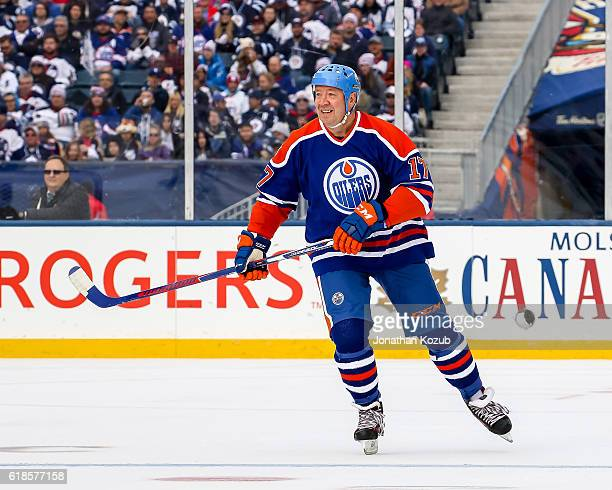 Jari Kurri of the Edmonton Oilers alumni follows the play down the ice during first period action against the Winnipeg Jets alumni in the 2016 Tim...