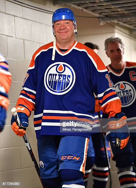 Jari Kurri of the Edmonton Oilers alumni takes to the ice in advance of the 2016 Tim Hortons NHL Heritage Classic alumni game at Investors Group...