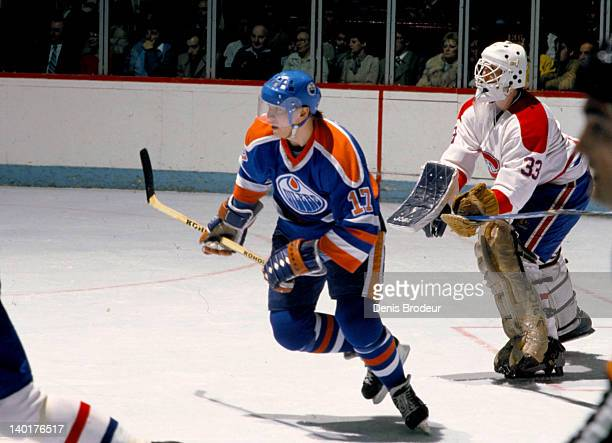 Jari Kurri of the Edmonton Oilers skates against the Montreal Canadiens Circa 1980 at the Montreal Forum in Montreal Quebec Canada