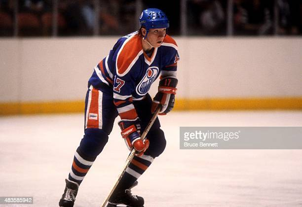 Jari Kurri of the Edmonton Oilers skates on the ice during an NHL game against the New York Rangers on December 14 1983 at the Madison Square Garden...