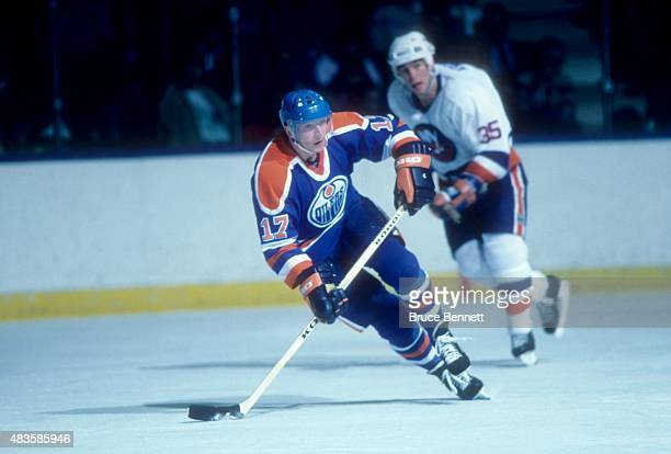 Jari Kurri of the Edmonton Oilers skates on the ice during an NHL game against the New York Islanders on November 11 1986 at the Nassau Coliseum in...