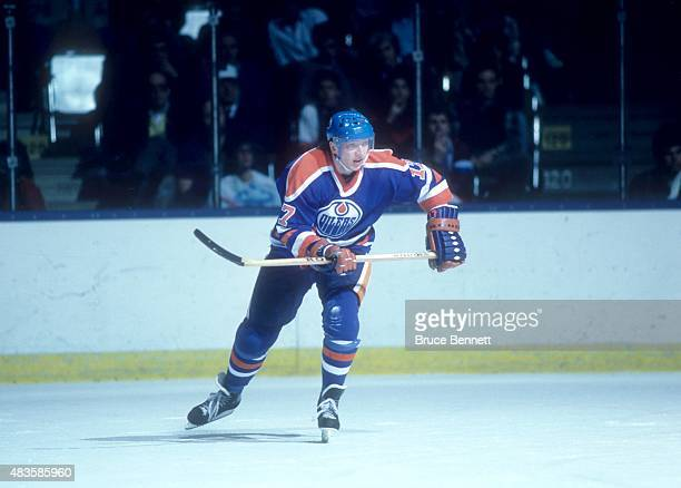 Jari Kurri of the Edmonton Oilers skates on the ice during an NHL game against the New York Islanders on March 29 1986 at the Nassau Coliseum in...