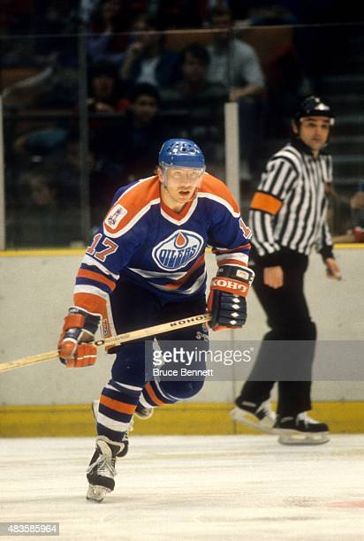 Jari Kurri of the Edmonton Oilers skates on the ice during an NHL game against the New Jersey Devils on January 15 1989 at the Brendan Byrne Arena in...