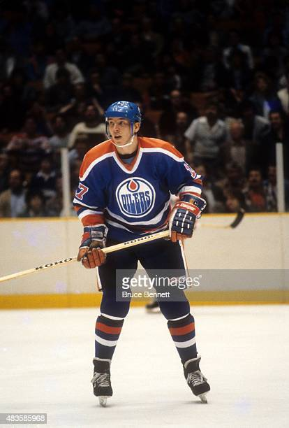 Jari Kurri of the Edmonton Oilers skates on the ice during an NHL game against the New Jersey Devils on December 17 1984 at the Brendan Byrne Arena...