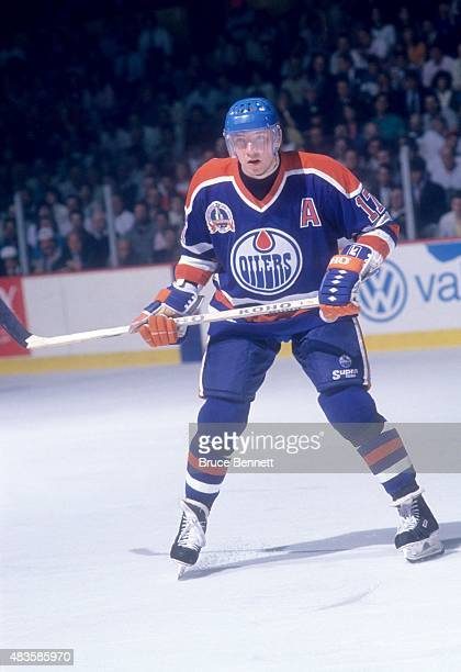 Jari Kurri of the Edmonton Oilers skates on the ice during the 1990 Stanley Cup Finals against the Boston Bruin in May 1990 at the Boston Garden in...