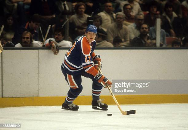 Jari Kurri of the Edmonton Oilers skates with the puck during an NHL game against the New York Islanders on March 3 1981 at the Nassau Coliseum in...