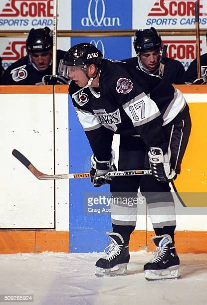 Jari Kurri of the Los Angeles Kings prepares for the faceoff against the Toronto Maple Leafs during NHL game action at Maple Leaf Gardens in Toronto...
