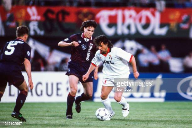 Jari LITMANEN of Ajax and Marco SIMONE of Milan during the Champions League Final match between Ajax Amsterdam and Milan AC at ErnstHappelStadion...