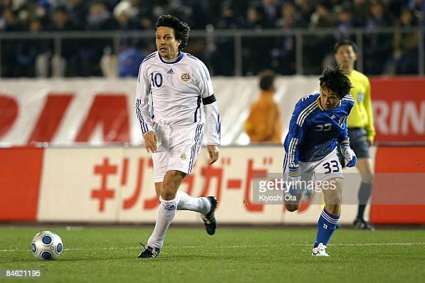 Jari Litmanen of Finland controls the ball against Shinji Okazaki of Japan during the Kirin Challenge Cup 2009 match between Japan and Finland at the...