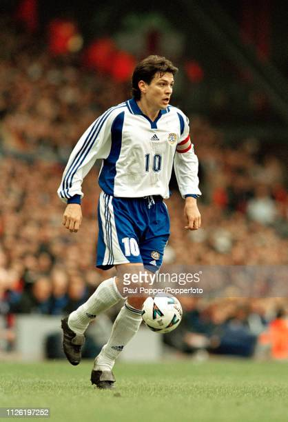 Jari Litmanen of Finland in action during the 2002 FIFA World Cup Qualifying match between England and Finland at Anfield on March 24 2001 in...