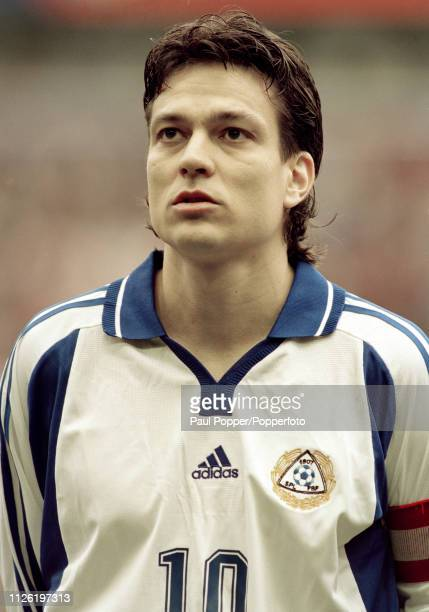 Jari Litmanen of Finland lines up before the 2002 FIFA World Cup Qualifying match between England and Finland at Anfield on March 24 2001 in...
