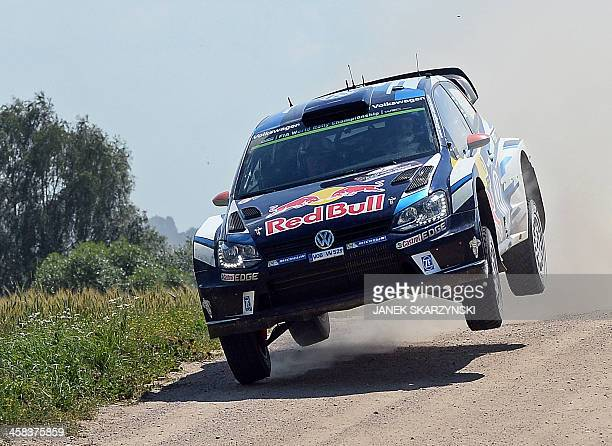 Jari Matti Latvala and codriver Miikka Anttila of Finland drive their Volkswagen Polo R WRC during the special stage of Rally Poland in Babki north...